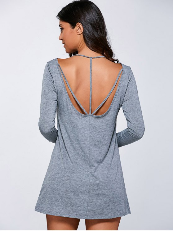 Long Sleeve Casual Mini Dress - GRAY S Mobile