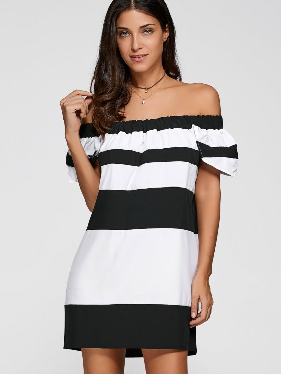Del hombro del bloque del color del vestido - Blanco y Negro 2XL