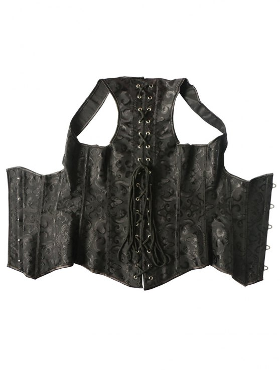 Vintage Lace Up Steel Boned Corset Vest - BLACK 6XL Mobile