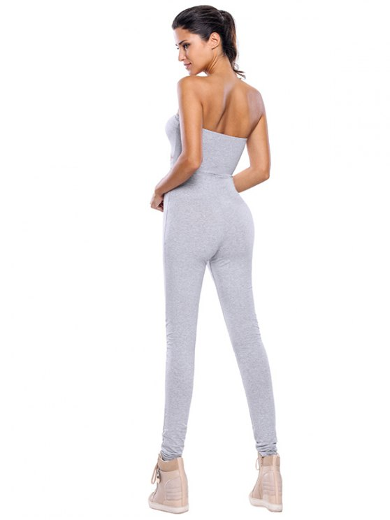 Sporty Strapless Hollow Out Gym Jumpsuit - GRAY L Mobile