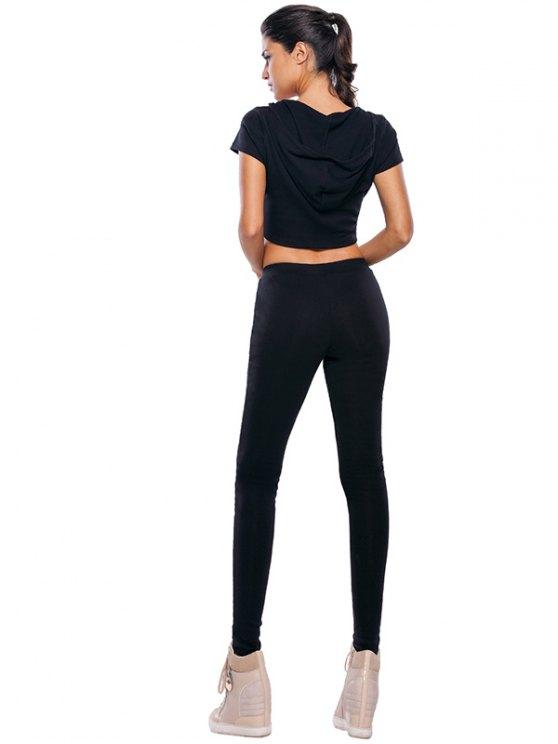 Casual Crop Top and Pants Fitness Gym Outfit - BLACK M Mobile