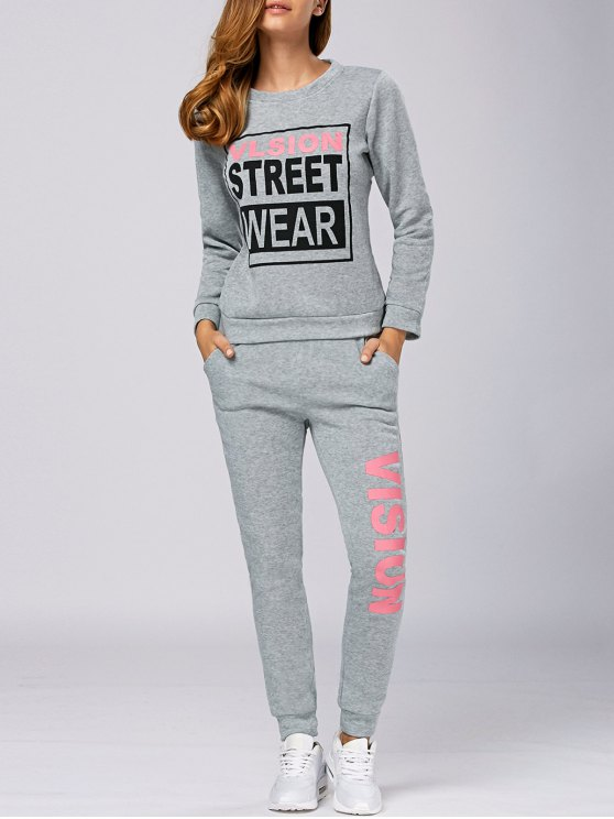 Letter Graphic Sweatshirt and Sweatpants - LIGHT GRAY M Mobile