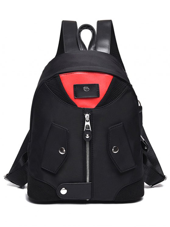 shops Nylon Colour Block Snap Closure Backpack - RED WITH BLACK