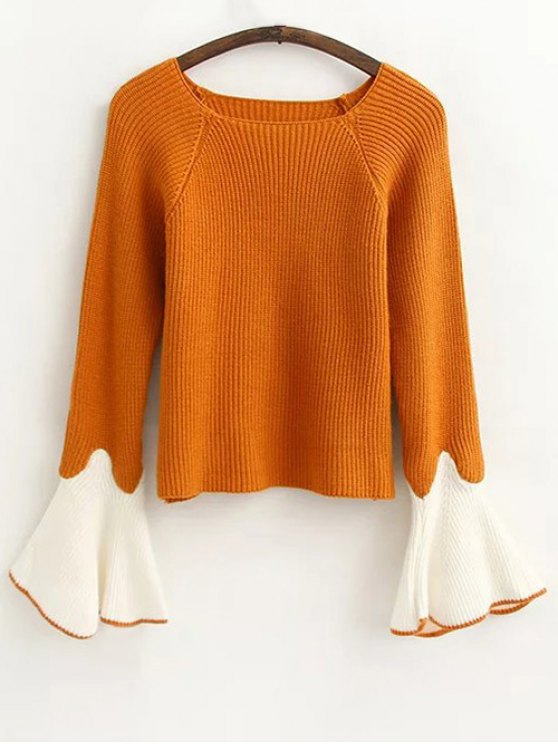 hot Flare Sleeve Color Block Sweater - GINGER ONE SIZE