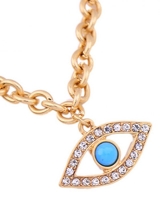 Rhinestone Hollow Eye Bracelet - GOLDEN  Mobile