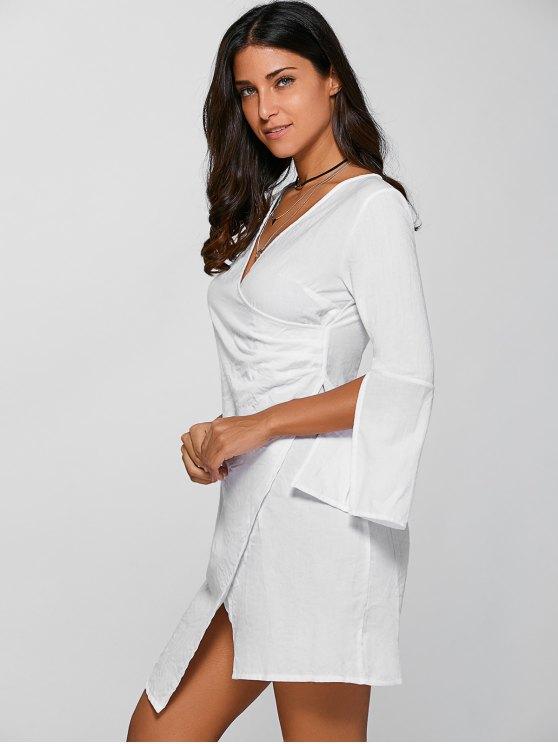 V-Neck Asymmetric Flare Sleeve Surplice Dress - WHITE XL Mobile