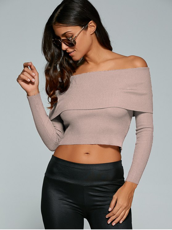Foldover Off Shoulder Jumper - NUDE PINK M Mobile