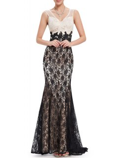 V Neck Lace Trumpet Evening Dress - White And Black S