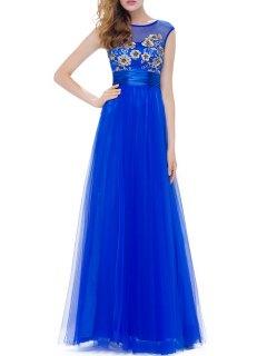 Flower Embroidered Gauze Evening Dress - Blue S