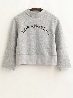 Casual Cropped Letter Sweatshirt - Gray S