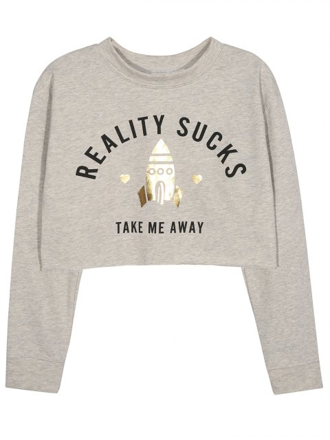 outfit Take Me Away Cropped Graphic Sweatshirt - GRAY XL Mobile