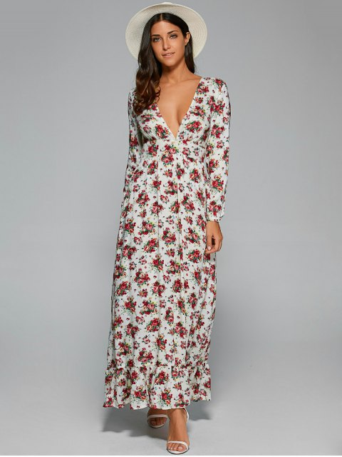 fancy Empire Waist Maxi Floral Plunging Neckline Dress - WHITE S Mobile