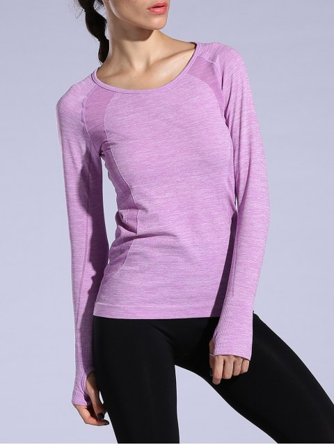 shop Gloved Long Sleeve Quick Dry T-Shirt - LIGHT PURPLE M Mobile