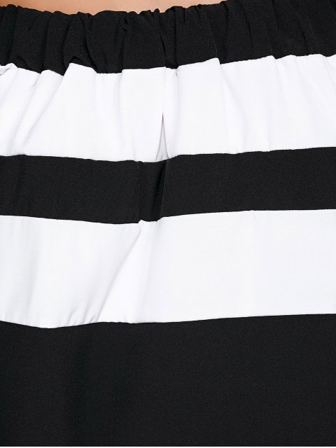 outfits Off The Shoulder Color Block Mini Dress - WHITE AND BLACK 2XL Mobile