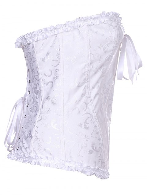 fancy Retro Zipped Lace Up Corset - WHITE 2XL Mobile