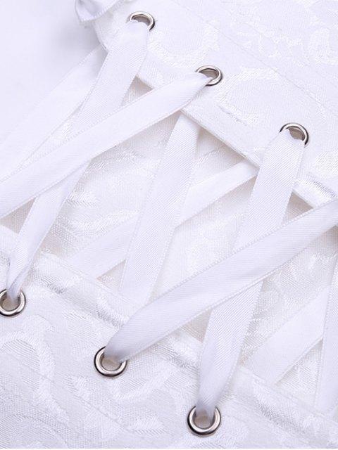 buy Retro Zipped Lace Up Corset - WHITE S Mobile