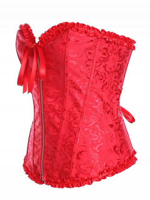 womens Retro Zipped Lace Up Corset - RED 2XL Mobile