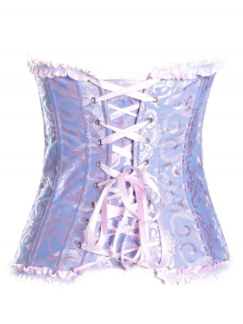 new Retro Zipped Lace Up Corset - BLUISH VIOLET L Mobile