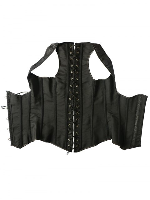 women's Vintage Lace Up Steel Boned Corset Vest - BLACK XL Mobile