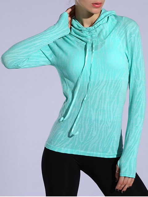 online Dry-Quick Heathered Drawstring Hoodie - LIGHT GREEN L Mobile