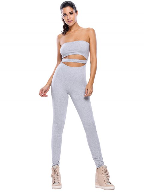 chic Sporty Strapless Hollow Out Gym Jumpsuit - GRAY L Mobile