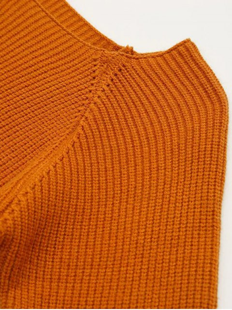 hot Flare Sleeve Color Block Sweater - GINGER ONE SIZE Mobile