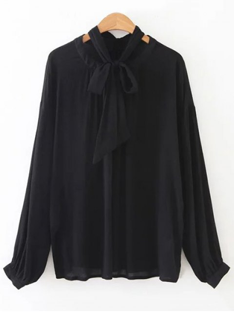 outfit Bowknot OL Sheer Blouse - BLACK S Mobile