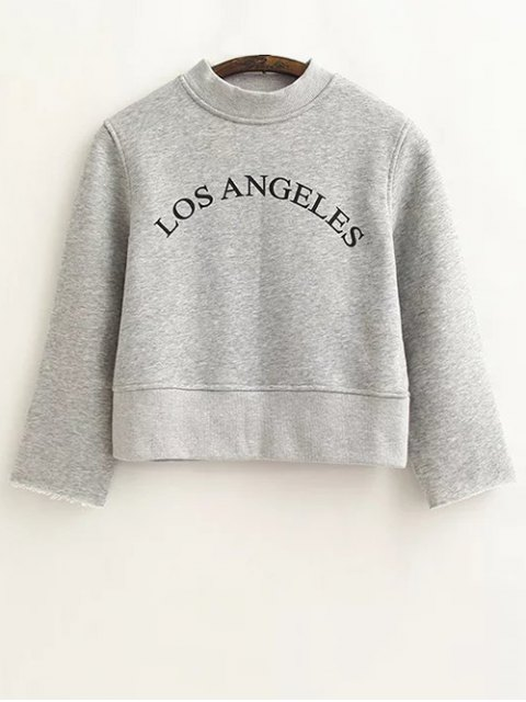 best Casual Cropped Letter Sweatshirt - GRAY S Mobile