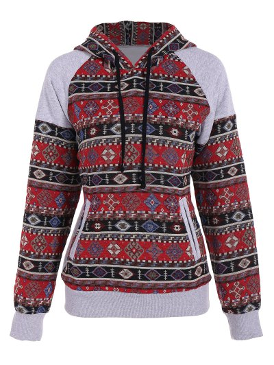 Front Pocket Tribal Pattern Hoodie