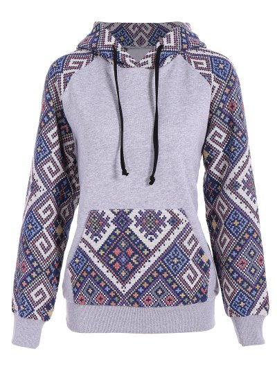 Front Pocket Jacquard Panelled Hoodie - Gray And Blue