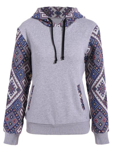Jacquard Panel Front Pocket Hoodie - Gray