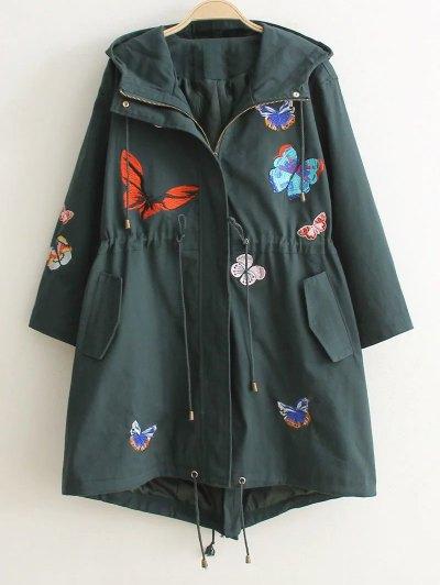 Hooded Embroidered Coat - Blackish Green M