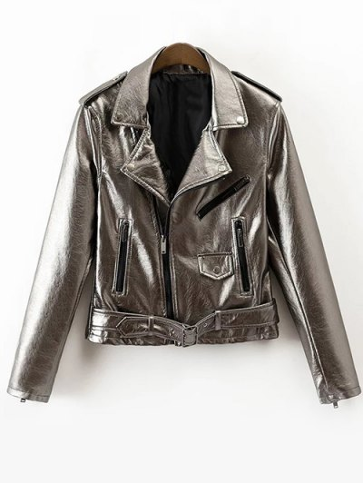 PU Biker Jacket - Silver