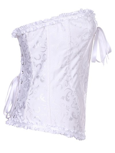 Retro Zipped Lace Up Corset - WHITE L Mobile