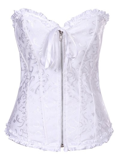 Retro Zipped Lace Up Corset - WHITE S Mobile