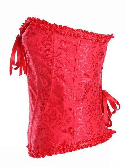 Retro Zipped Lace Up Corset - RED XL Mobile