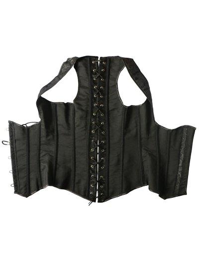 Vintage Lace Up Steel Boned Corset Vest - BLACK 6XL Mobile