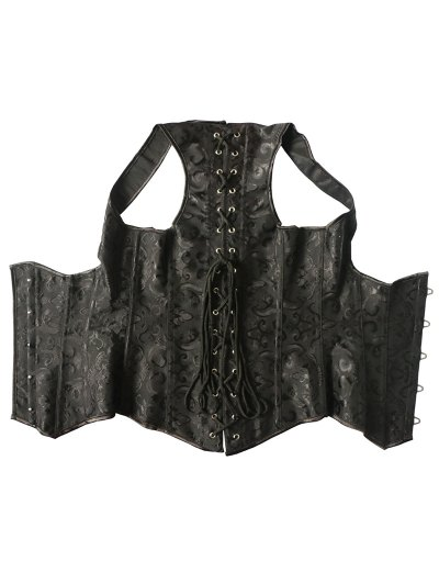 Vintage Lace Up Steel Boned Corset Vest - BLACK 5XL Mobile