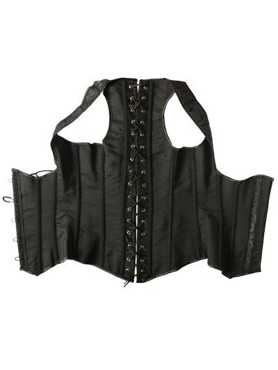 Vintage Lace Up Steel Boned Corset Vest - BLACK 4XL Mobile