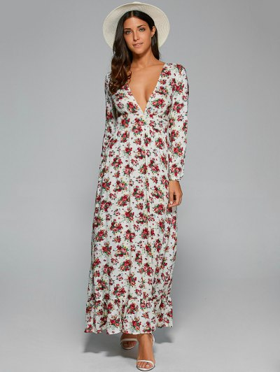 Empire Waist Maxi Floral Plunging Neckline Dress - White