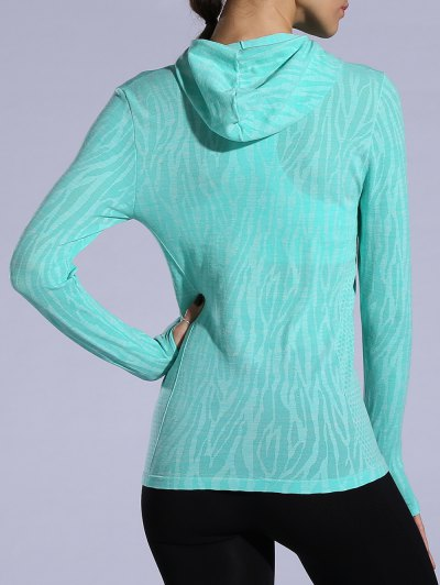 Dry-Quick Heathered Drawstring Hoodie - LIGHT GREEN L Mobile