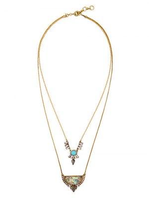 Faux Gem Rhinestone Layered Necklace - Golden