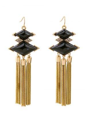 Rhombus Rhinestone Faux Gem Chain Tassel Earrings - Black