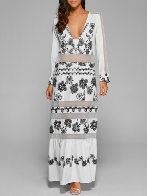 Mesh Panelled Long Dress With Sleeves - White