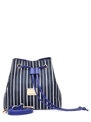 Drawstring Striped Pattern Colour Block Crossbody Bag - Blue