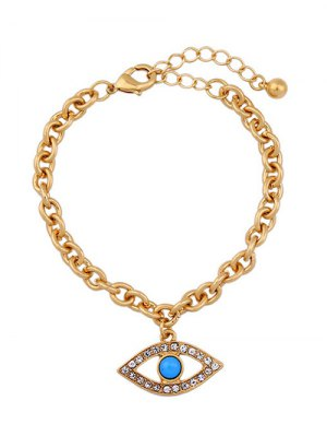 Rhinestone Hollow Eye Bracelet - Golden