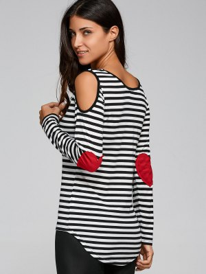 Casual Striped Cold Shoulder T-Shirt - Black