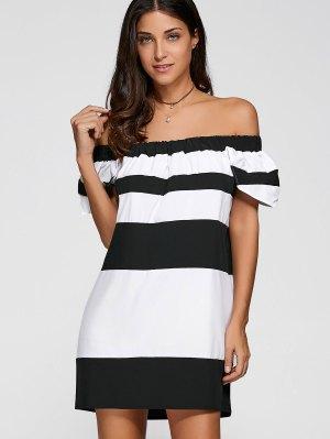 Del Hombro Del Bloque Del Color Del Vestido - Blanco Y Negro