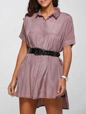 High Low Half Sleeve Shirt Dress - Deep Pink