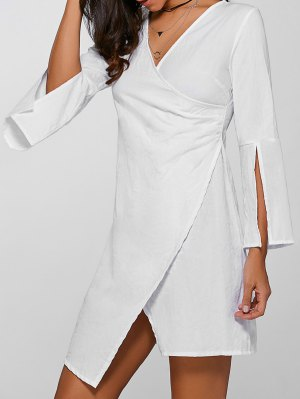 V-Neck Asymmetric Flare Sleeve Surplice Dress - White